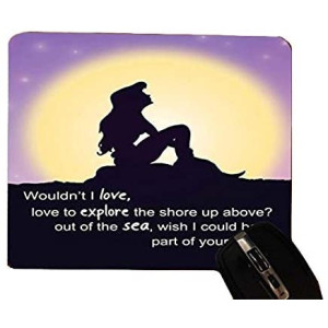 Trendy Accessories The Little Mermaid Silhouette Love Quote Pattern Design Print Desktop Office Silicone Mouse Pad