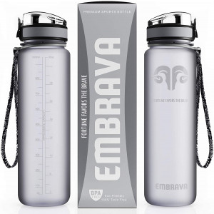 Embrava Best Sports Water Bottle - 32oz Large - Fast Flow, Flip Top Leak Proof Lid w/One Click Open - Non-Toxic BPA Free and Eco-Friendly Tritan Co-Polyester Plastic