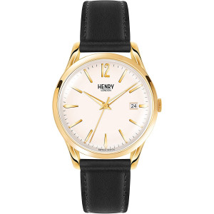 Henry London Unisex Analogue Westminster Watch with Black Leather Strap HL39-S-0010