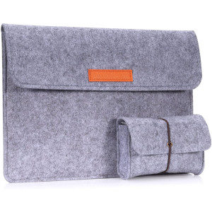"""MoKo 13-13.3 Inch Laptop Sleeve Case Fits MacBook Air 13-inch Retina, MacBook Pro 13"""", Dell XPS 13, Samsung Notebook 9 13.3"""" HP Asus Acer Notebook Computer with Small Felt Accessory Bag - Light Gray"""
