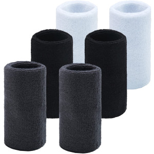 HBY 3 Pairs Long Athletic Thick Cotton Wristband Sweatband for Sports