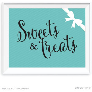 Andaz Press Bride and Co. Collection, Sweets and Treats Candy Dessert Buffet Party Sign, 8.5x11-inch, 1-pack, For Bridal Shower, Engagement, Wedding Event Decorations
