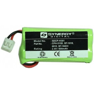 Synergy Digital Cordless Phone Battery, Works with ATandT-Lucent BT8001 Cordless Phone, (Ni-MH, 2.4V, 800 mAh), Compatible with Uniden BT-1018, BT-1011, BT-1022, BT8001, BATT-6010, BT18 Battery