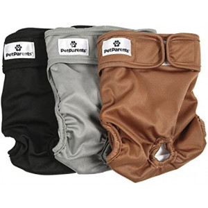 Pet Parents Washable Dog Diapers (3pack) of Durable Doggie Diapers, Premium Male and Female Dog Diapers