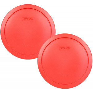 """Pyrex 7402-PC Red Round Storage Replacement Lid Cover fits 6 and 7 Cup 7"""" Dia. Round (2-Pack)"""