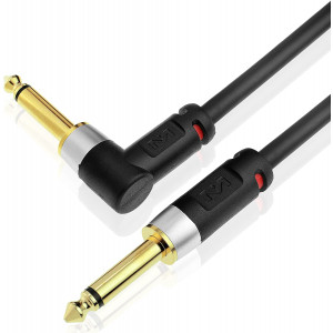Mediabridge Ultra Series Right Angle Guitar Instrument Cable (25 Feet) - 1/4 Inch Right Angle to 1/4 Inch Straight (Part# MC-14R-14S-25)