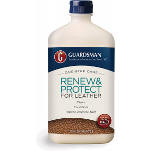 Guardsman Renew and Protect for Leather 16 oz - Cleans, Conditions and Protects in One Step - Great for Leather Furniture and Car Interiors - 471300