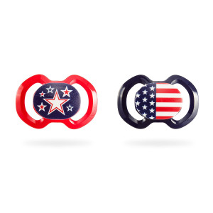 BooginHead Baby Newborn Orthodontic Pacifiers, Patriotic USA Flag and Stars Red/Blue (pack of 2)