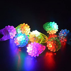 CandH Solutions Novelty 72 ct Flashing LED Bumpy Rings Blinking Soft Jelly Glow by CandH
