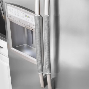 OUGAR8 Refrigerator Door Handle Covers Protective Electrical Kitchen Appliances Gloves Fridge Microwave Dishwasher Door Cloth Protector- Catches Drips,SmudgesandFingerprints Dust Covers (Gray Plush)
