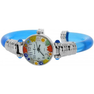 GlassOfVenice Murano Glass Millefiori Bangle Watch - Silver Blue Multicolor