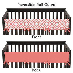 Baby Crib Long Rail Guard Wrap Cover Teething Protector for Modern White and Coral Diamond Girls Geometric Bedding Collection