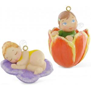 Hallmark Keepsake Ornament Pansy and Tulip Baby Fairy Messenger Series 2 Piece