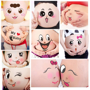 TAFLY 10 Sheets Facial Expressions Pregnancy Baby Bump Belly Stickers Maternity Week Stickers