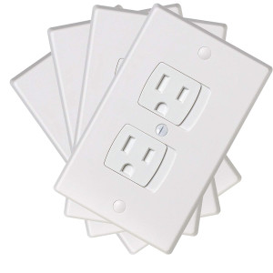 Ziz Home Self-Closing Outlet Covers | 4 Pack | White | Universal Electric Outlet Cover - Baby Proof Kit - Child Safety Wall Socket Plug  Durable ABS Plastic - Protection | Proofing | Childproof
