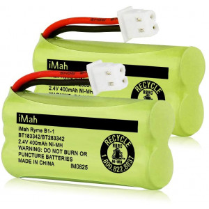 iMah BT183342/BT283342 2.4V 400mAh Ni-MH Battery Pack, Also Compatible with ATandT VTech Cordless Phone Batteries BT166342/BT266342 BT162342/BT262342 CS6709 CS6609 CS6509 CS6409 EL52100 EL50003, 2-Pack