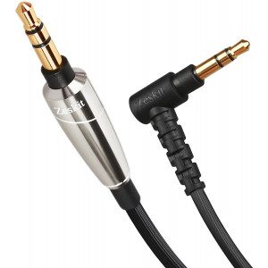 Zeskit 3.5mm Jack Stereo Audio Cable with Silver Plated Copper Conductors for Lossless Audio, for Speakers Headphones AUX Input Radio Tape Audio Recording (Silver)