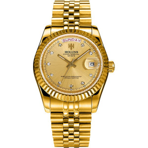1.42 inches Gold Plated Automatic Watches for Men with Day and Date