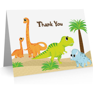 Dinosaur Note Cards (12 Foldover Cards and Envelopes) Kids Thank You Cards