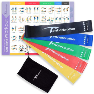 Timberbrother Resistance Loop Bands with Workout Poster 16.5x 22.4,Set of 5 Exercise Bands for Crossfit Workout and Physical Training