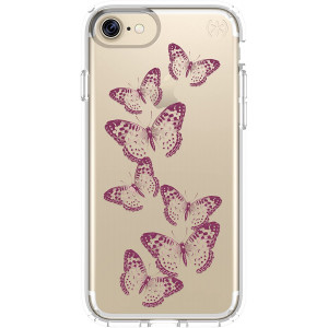 Speck Products 79991-5947 Presidio Clear + Print Cell Phone Case for iPhone 7 - Butterflies Rose Gold/Clear