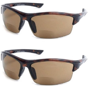 2 Pair The Foster Bifocal Sun Reader Sport and Wrap Around Reading Sunglasses, Unisex Half Frame Readers for Men and Women in Tortoise with Amber +1.50 (2 Microfiber Pouches Included)