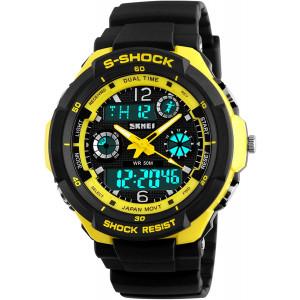 Gosasa Multifunction Sport Watch Men's Digital Shock Resistant Quartz Alarm Waterproof Watches Yellow