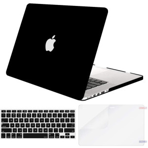 MOSISO Plastic Hard Shell Case and Keyboard Cover and Screen Protector Only Compatible with Older Version MacBook Pro Retina 15 inch (Model: A1398, Release 2015 - end 2012), Black