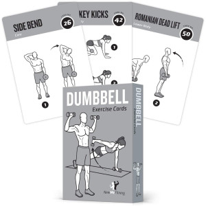 Exercise Cards Dumbbell Home Gym Strength Training Building Muscle Total Body Fitness Guide Workout Routines Bodybuilding Personal Trainer Large Waterproof Plastic 3.5x5 Burn Fat