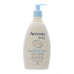 Aveeno Baby Daily Moisture Lotion with Natural Colloidal Oatmeal and Dimethicone, Fragrance-Free, 12 fl. oz (Pack of 3)