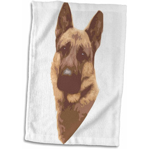 "3D Rose Cute and Cuddly Canine German Shepard Face Towel, 15"" x 22"""