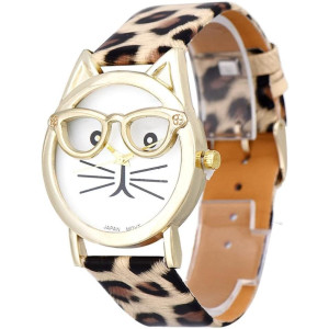 Winhurn Super Cute Cat Glasses Design Analog Quartz Women Wrist Watch (Khaki)