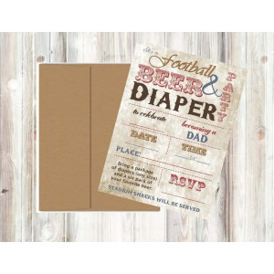 Vintage Retro Tailgate Football Baby Shower Invitations Decor and Party Games (Dad's Football and Beer Invites)