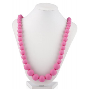Nuby Teething Trends Round Beads Teething Necklace - Light Pink