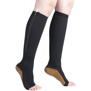 Black Copper Infused Compression Socks with Zipper 20-25 mmHg Open Toe Free Eyeglass Pouch by Juniper's Secret (L/XL)