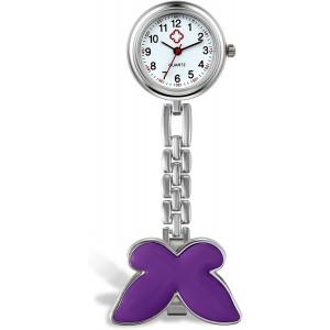 Lancardo Butterfly Women Girls Doctor Nurse Fob Clip On Brooch Hanging Pendant Pocket Watch