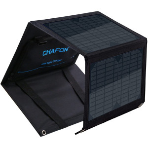 CHAFON 40W Portable Solar Charger with Foldable Panel,18V DC 5521 Output for Portable Power Station Solar Generator,Laptop Tablet,5V/2A USB Port Compatible with iPhone Xs Max/XR/X/8/iPad/Galaxy s9