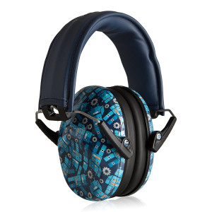Muted Designer Hearing Protection for Infants and Kids - Adjustable Children's Ear Muffs from Toddler to Teen - Robot Blue