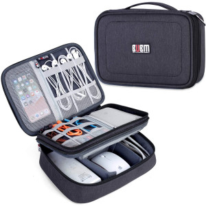 """BUBM Electronic Organizer, Double Layer Travel Accessories Storage Bag for Cord, Adapter, Battery, Camera and More-a Sleeve Pouch for iPad or up to 9.7"""" Tablet(Large, Black)"""