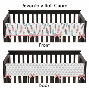 Feather Collection Long Front Rail Guard Baby Teething Cover Crib Protector Wrap