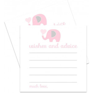 Pink Elephant Advice Cards (25 Pack) Girls Baby Shower Games - Well Wishes - Kids Birthday - Time Capsule Ideas  Cute Little Peanut Party Supplies