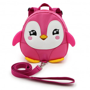 Hipiwe Baby Toddler Walking Safety Backpack Little Kid Boys Girls Anti-Lost Travel Bag Harness Reins Cute Cartoon Penguin Mini Backpacks with Safety Leash for Baby 1-3 Years Old (Pink)