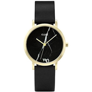 CLUSE La Roche Petite Gold Black Marble Black CL40102 Women's Watch 33mm Leather Strap Minimalistic Design Casual Dress Japanese Quartz