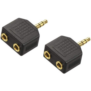 VCE 2-Pack Gold Plated 3.5mm Male to Dual 1/8 Inch Female Stereo Jack Adapter Y Splitter Headphone Converter