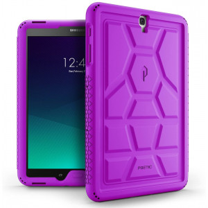 Poetic TurtleSkin Galaxy Tab S3 9.7 Rugged Case with Heavy Duty Protection Silicone and Sound-Amplification Feature for Samsung Galaxy Tab S3 9.7 Purple