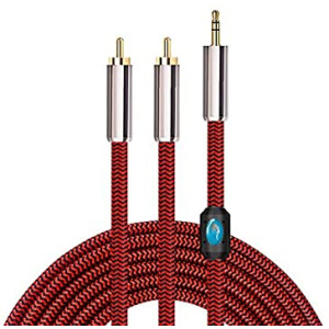 6ft Stereo 3.5mm to 2RCA Audio Auxiliary Adapter Stereo Splitter Cable for Smartphone/Speakers/Tablet Computer/Laptop/HDTV MP3 Player Nylon Braided RCA Y Cord (2m)