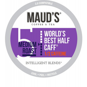 Maud's Half Caff Coffee (World's Best Half Caff), 100ct. Recyclable Single Serve Coffee Pods  Richly satisfying arabica beans California Roasted, k-cup compatible including 2.0