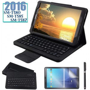 Galaxy Tab A 10.1 2016 Keyboard Case with Screen Protector and Stylus, REAL-EAGLE Slim Separable Fit PU Leather Case Cover Wireless Keyboard for Tab A 10.1 Inch 2016 SM-T580 T580N T585 T585N,Black