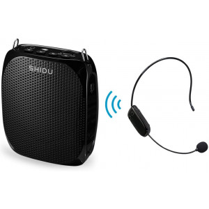 Wireless Voice Amplifier with UHF Microphone headset 10W Portable Loud Speaker Clear Sound for Teaching, Singing, Presentations, Tour, Speech and More, Black