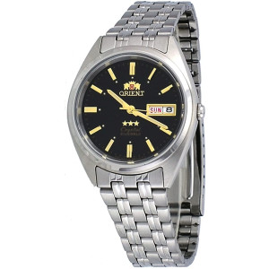Orient FAB0000DB Men's 3 Star Stainless Steel Black Dial Self Wind Automatic Watch
